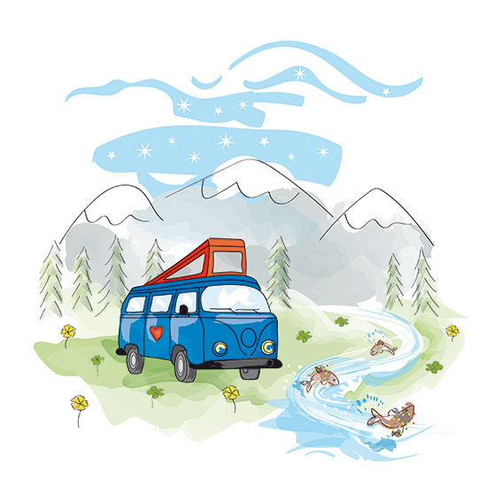 illustration montagne van