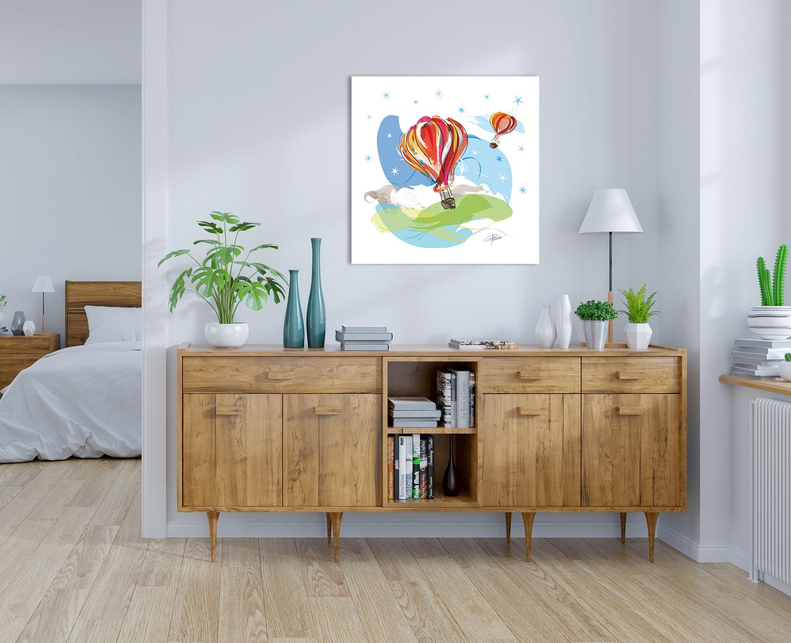 montgolfiere affiche tableau