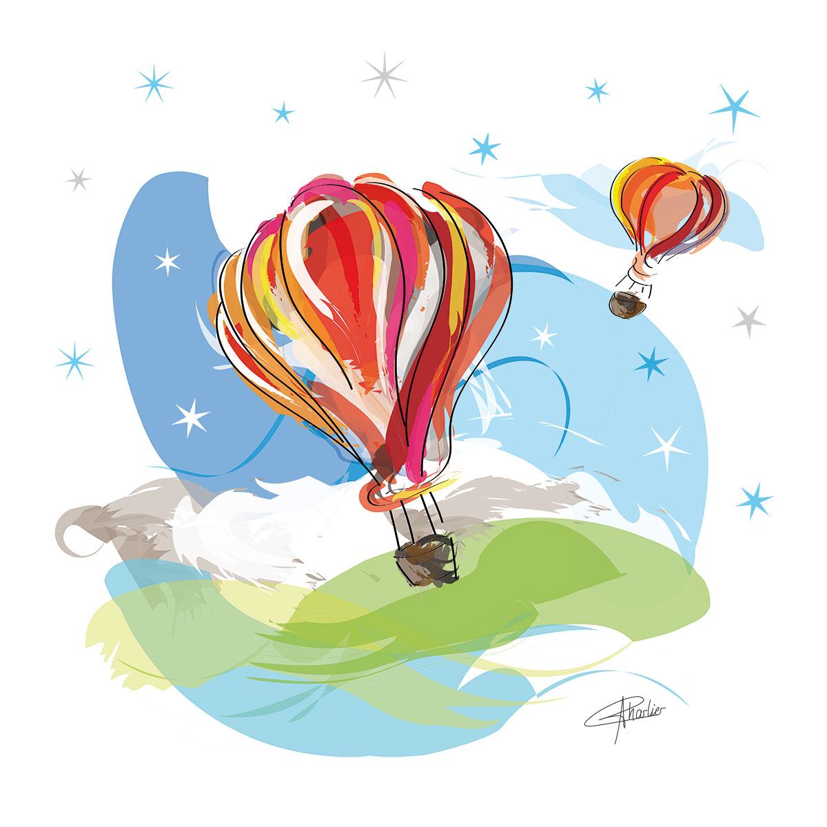 montgolfieres tableau affiche illustration