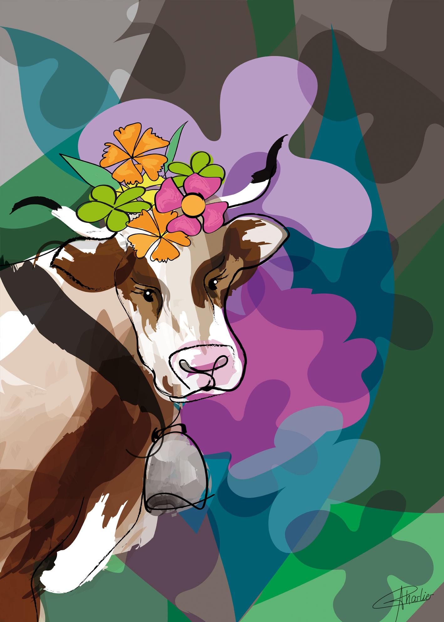 vache tableau affiche